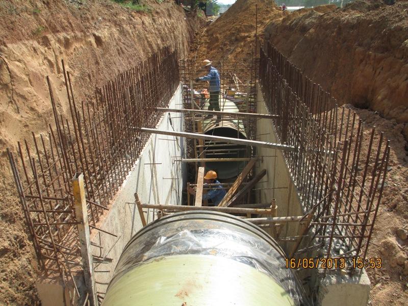 Cung cấp vật tư và thi công xây dựng tuyến ống tự chảy cốt sợi thủy tinh (FRP) D1400&D1600 thuộc Dự án: Thoát nước từ ranh khu công nghiệp Long Đức ra Suối nước trong-Huyện Long Thành - GĐI